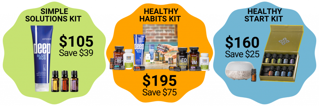 "Shop sets like the ""Simple Solutions Kit,"" ""Healthy Habits Kit,"" or the ""Healthy Start Kit"" to save between $25 - $75!"