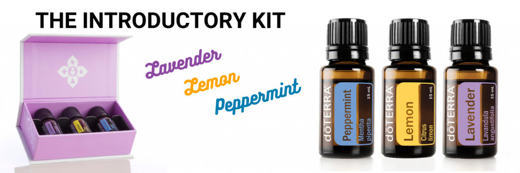 The doTERRA Introductory Kit contains Lavender, Lemon, and Peppermint essential oils.